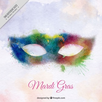 Mardi gras background con maschera acquerello