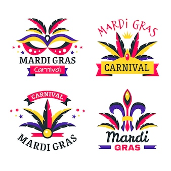 Mardi gras badge collection concept