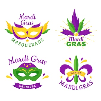 Mardi gras badge collection design