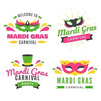 Mardi gras badge collection theme