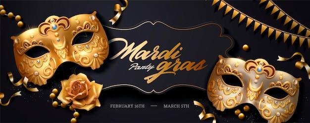 Баннер марди гра с золотой роскошной маской и растяжками в 3d-иллюстрации, угол обзора сверху