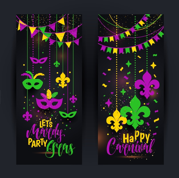 Mardi gras banners with a mask