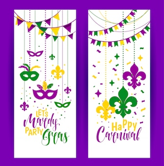 Mardi gras beads colored frame with a mask