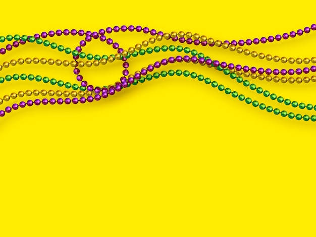 Mardi gras beads in traditional colors.
