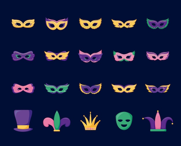 Mardi gras card set icons