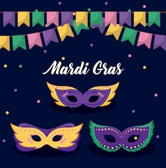 Mardi gras card with masks