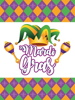 Mardi gras carnival lettering with jester hat and maracas  illustration