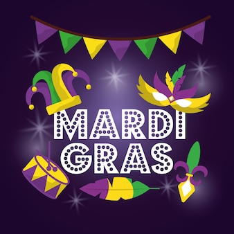 Mardi gras carnival mask hat drum with glitter texture invitation
