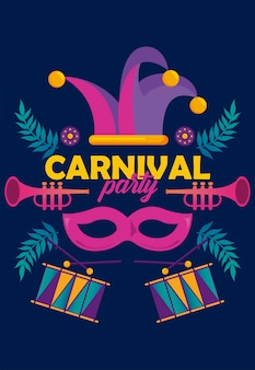 Mardi gras carnival party celebration with instruments and jester hat