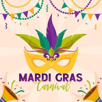 마디 그라 카니발 파티 디자인.