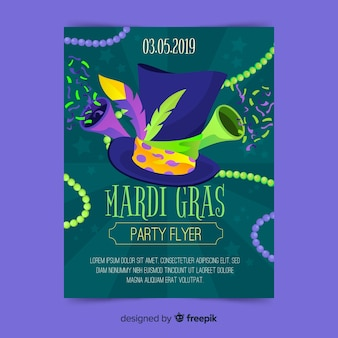 Mardi gras carnival party flyer template