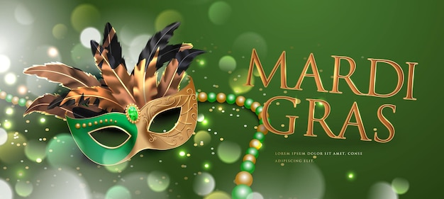 Иллюстрация плаката карнавальной вечеринки марди гра с 3d надписью