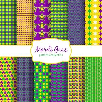 マルディグラのカーニバルパターンコレクション。緑と背景、黄色と装飾ファッション。ベクトルイラスト
