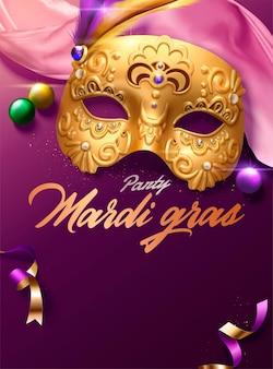 3d 그림에서 황금 마스크와 분홍색 새틴 장식이 있는 마디 그라 카니발 포스터