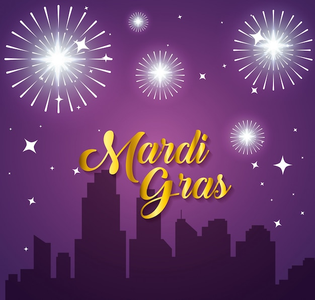 Mardi gras celebration in the city with fireworks