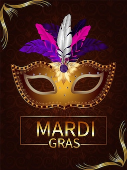 Mardi gras celebration poster or flyer with creative carnival mask