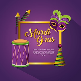 Mardi gras celebration with frame decoration and card template