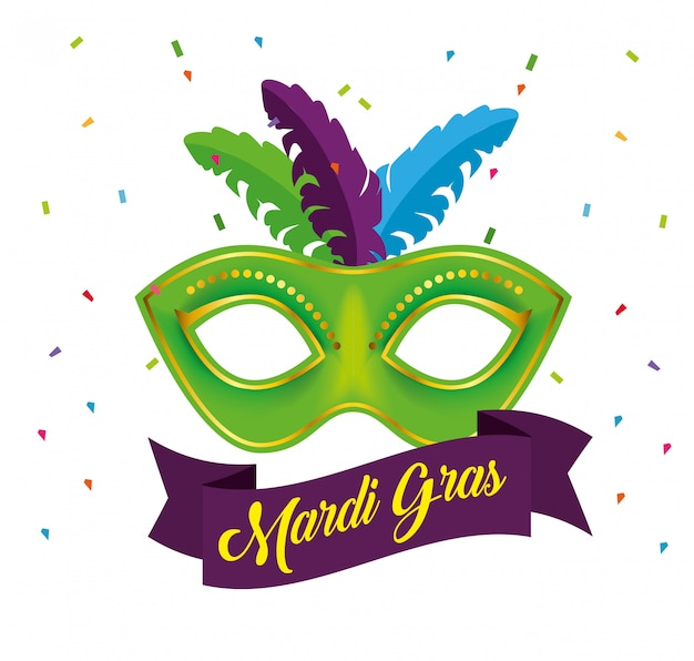 Mardi gras celebration with party mask