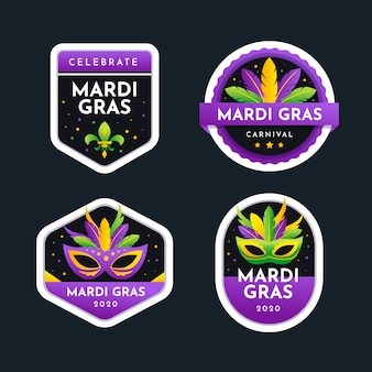 Mardi gras collection of labels