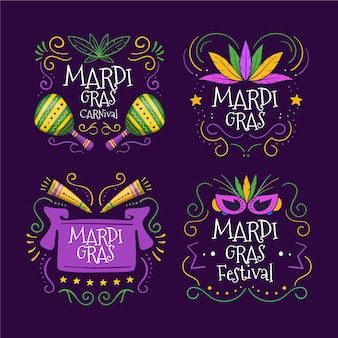 Mardi gras colorful label set