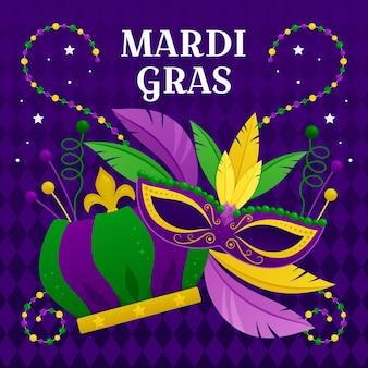 Mardi gras concept in flat design