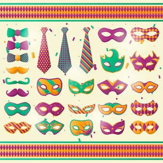 Mardi gras, costume party or festival, carnival or masquerade mask and tie set. collection of venice decorative masks for face. flat design elements. isolated vector illustration