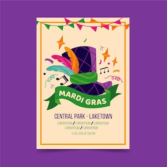 Мерди гра событие с красочными перьями и плакат с музыкальными нотами