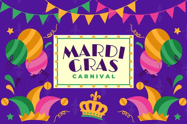 Mardi gras event with garlands and colourful balloons
