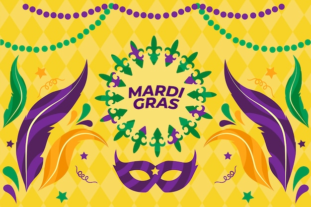 Mardi gras event with masks and feathers