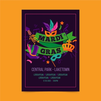Mardi gras event with masks and ribbons flyer template