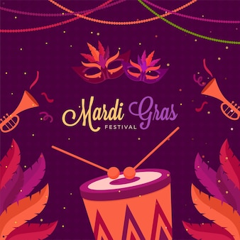 Mardi gras festival celebration background decorated with feathers