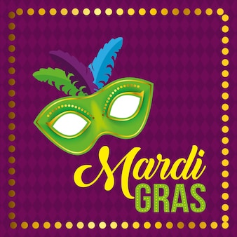 Mardi gras festival with party mask