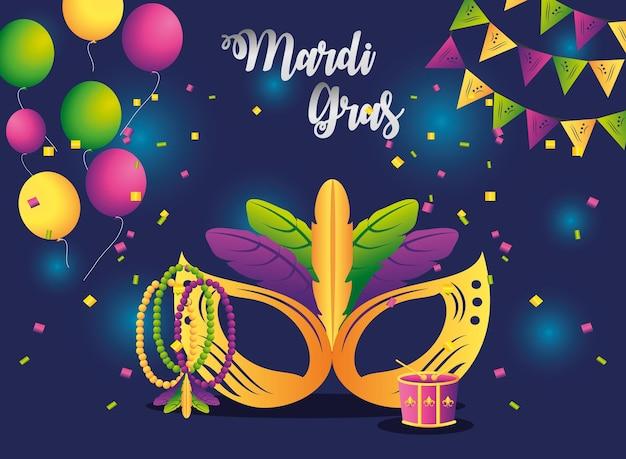 Марди гра праздничная маска бусы воздушные шары вымпелы конфетти празднование векторные иллюстрации