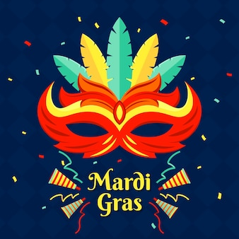 Mardi gras flat design mask and confetti