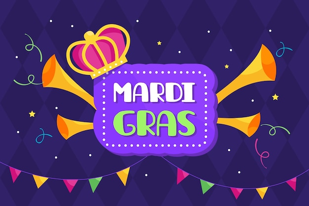 Mardi gras flat design with crown and trumpets