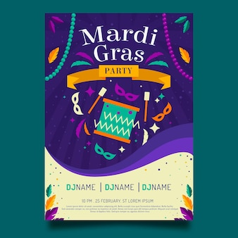 Mardi gras flyer template in flat design