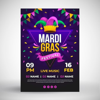 Mardi gras flyer template in flat design