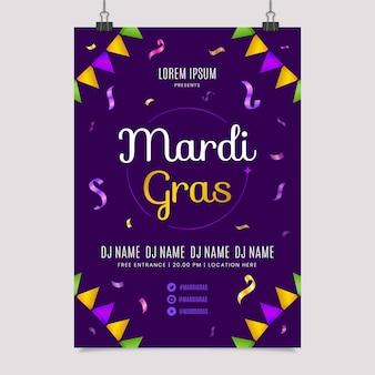 Mardi gras flyer modello poster design