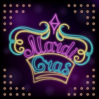 Mardi gras hand lettering. neon decor for the new orleans festival.
