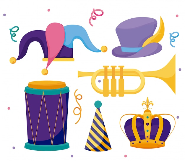 Mardi gras hats crown trumpet and drum