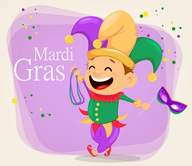 Mardi gras jester holding necklaces and mask