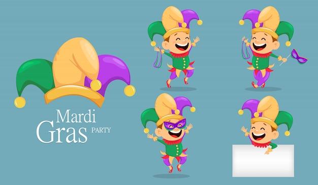 Mardi gras jester, set