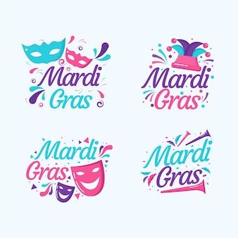 Mardi gras label collection concept