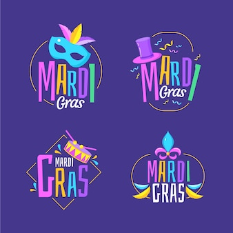 Mardi gras label collection theme