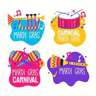Mardi gras label collection with musical instruments