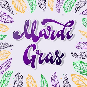 Mardi gras lettering quote with feathers frame