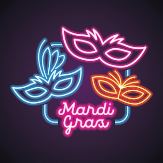 Mardi gras for mask carnival with neon light
