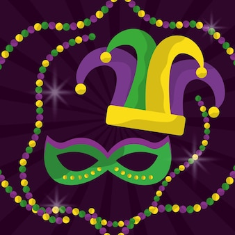 Mardi gras mask with feathers and jester hat beads glitter
