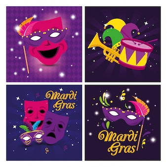 Mardi gras masks hat drum and trumpet