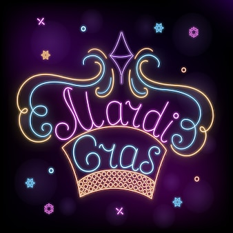 Mardi gras. neon crown decoration to fat tuesday.